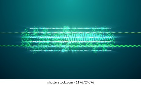 A cheerful 3d illustration of narrow green and celeste musical spirals with subliminal texts shimmering enigmatically. They are on the dark blue backdrop and generate the mood of joy and fun.