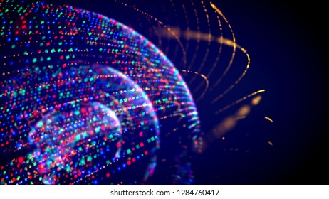 Cheerful 3d illustration of three dotty and shimmering spheres rotating inside of each other in the black background. It looks funny and festive like an innovative disco club light.