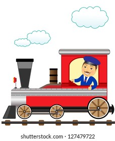 cheerful cartoon train with smile conductor thumb up