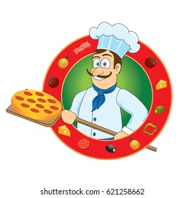 A cheerful chef prepares to cook pizza