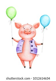 cheerful drawing watercolor pink piggy