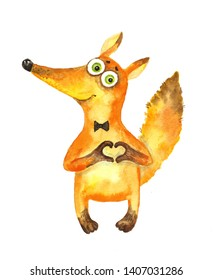 Cheerful fox gives everyone their heart. Watercolor illustration.isolated
