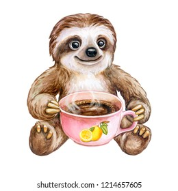 Cheerful, funny sloth with a cup of coffee, tea, chocolate, beverage isolated on a white background. Watercolor. Illustration. Template. Hand-drawn