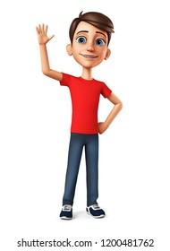Cheerful guy with a raised hand up. 3d render illustration.