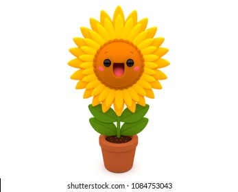 Cheerful and happy yellow Sunflower 3D cartoon character, inside a flower pot, on an isolated white background.