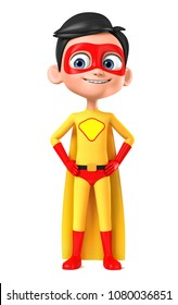 Cheerful little boy super hero in yellow suit isolated on white background. 3d render illustration.