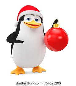 Cheerful penguin in a red hat and a Christmas ball on a white background. 3D rendering illustration. New Year.
