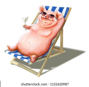 Cheerful pig with a glass in a chaise longue. Hand drawn watercolor