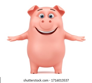 Cheerful pink pig cartoon character on a white background greets. 3d render illustration.