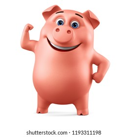 Cheerful pink pig shows muscle on a white background. 3d render illustration.
