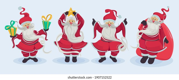 Cheerful Santa Claus in different poses isolated on a blue background. Santa wishes everyone a Merry Christmas and Happy New Year