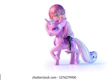 0e113c55398 Cheerful smiling cute cartoon girl hugging with love magical unicorn baby,  falling asleep. Cartoon