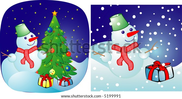 Cheerful snowball on a christmas background