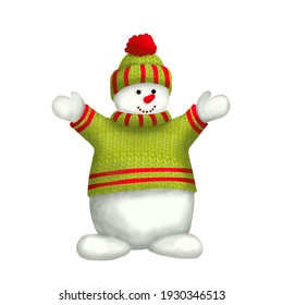 Cheerful snowman in a green sweater and hat. Clipart for a sticker, New Year's card or other New Year's products.