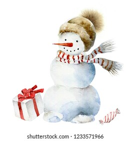 Cheerful snowman in scarf and hat with pompom. Christmas watercolor illustration