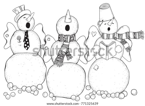 Cheerful Snowmen Sing Songs Pattern Adult Stock Illustration ...