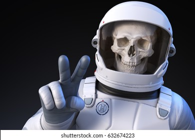 Cheerful spaceman in the deep space,3D illustration