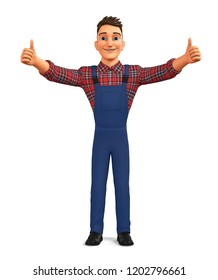 Cheerful worker showing two thumbs up on a white background. 3d render illustration.