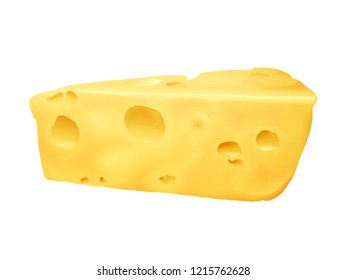 Cheese 3D illustration. Emmental or Cheddar and Edam cheese triangle lump with holes isolated on white background for dairy food or product package design template