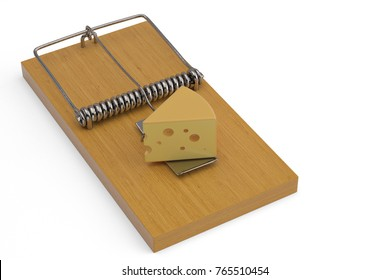 Cheese on mousetrap. 3D illustration.