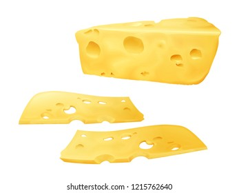 Cheese slices 3D illustration of sliced Emmental or Cheddar and Edam cheese with holes. Realistic design template isolated on white background for dairy food or product package