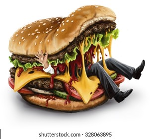 Cheeseburger eating a person