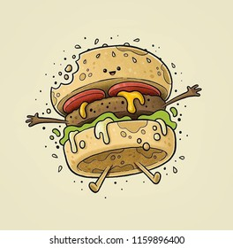 A cheeseburger is a hamburger topped with cheese. Traditionally, the slice of cheese is placed on top of the meat patty, Illustration of burger cartoon with cheese dripping from it