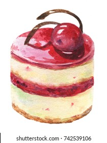 Cheesecake with cherry. Watercolor illustration