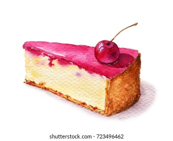 Cheesecake dessert with cherry on the top. Watercolor isolated on white background