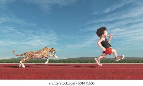 Cheetah chasing a short man running on a red track. This is a 3d render illustration