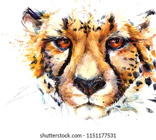 cheetah hand drawn watercolor illustration