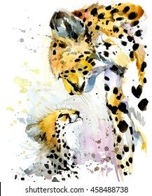 cheetah watercolor illustration. Mothers day card