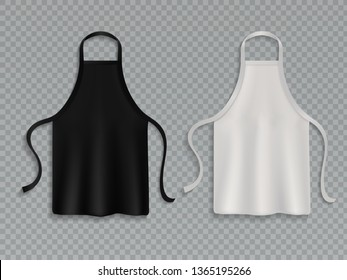 Chef apron. Black white culinary cloth aprons chef uniform kitchen cotton cooking clothes isolated mockup set