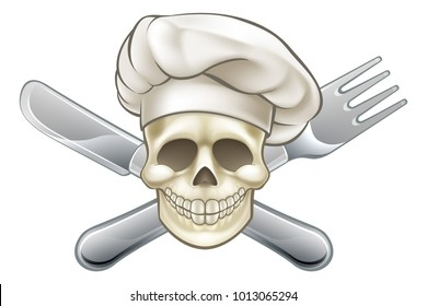 Chef cartoon pirate skull and crossbones with cross knife and fork and hat