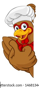 A chef chicken rooster cockerel cartoon character mascot peeking around a sign and giving a thumbs up