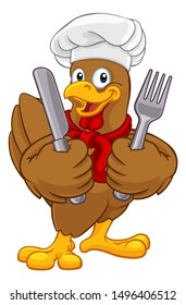 A chef chicken rooster cockerel cartoon character mascot holding knife and fork cutlery