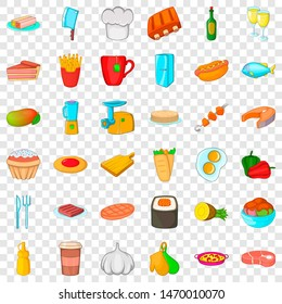 Chef cooker icons set. Cartoon style of 36 chef cooker icons for web for any design