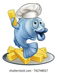 A chef fish and chips cartoon character mascot