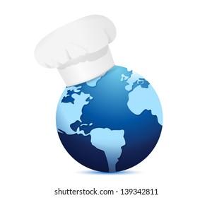 chef hat and globe. International cuisine concept illustration design