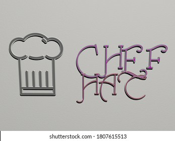CHEF HAT icon and text on the wall, 3D illustration