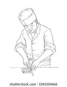 Chef of Japanese restrant / pendrawing illustration