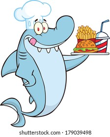 Chef Shark Cartoon Character Holding A Plate Of Hamburger And French Fries. Raster Illustration Isolated on white