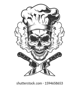 Chef skull in smoke cloud with crossed knives in vintage monochrome style isolated illustration