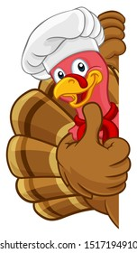 Chef Turkey Thanksgiving or Christmas bird animal cartoon character. Wearing a chefs hat and peeking around a background sign giving a thumbs up