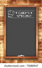chef's special chalkboard on brick wall