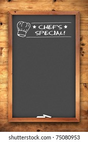 chef's special chalkboard on wooden background