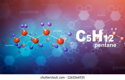 Chemical compound c5h12 background 3D rendering 3D ilustration