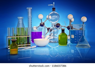 Chemical experiment, science research and chemistry concept, laboratory glassware on blue background, 3d illustration