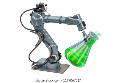 Chemical flask in robot arm, 3D rendering isolated on white background