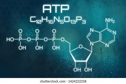 Chemical formula of ATP on a futuristic background